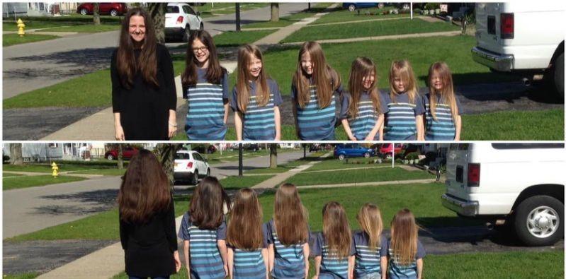 Phoebe Canisto y sus hijos antes de cortarse el cabello