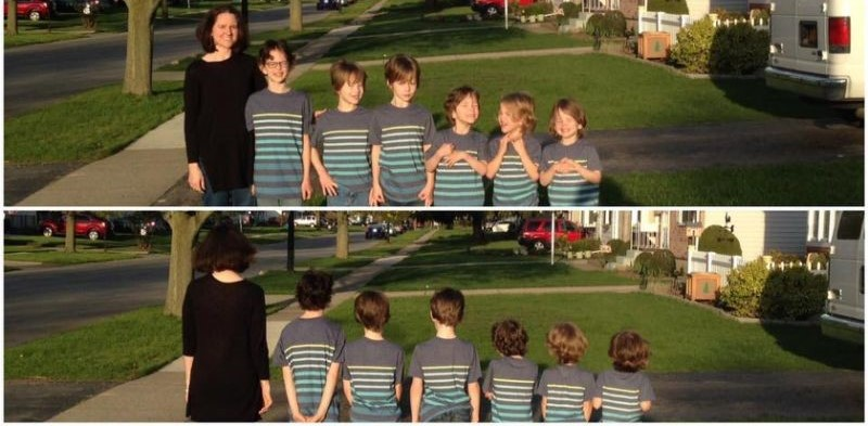 Phoebe Canisto y sus hijos después de dos años que donaron el cabello